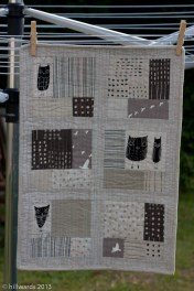 Handmade mini quilt in neutral linen and cotton