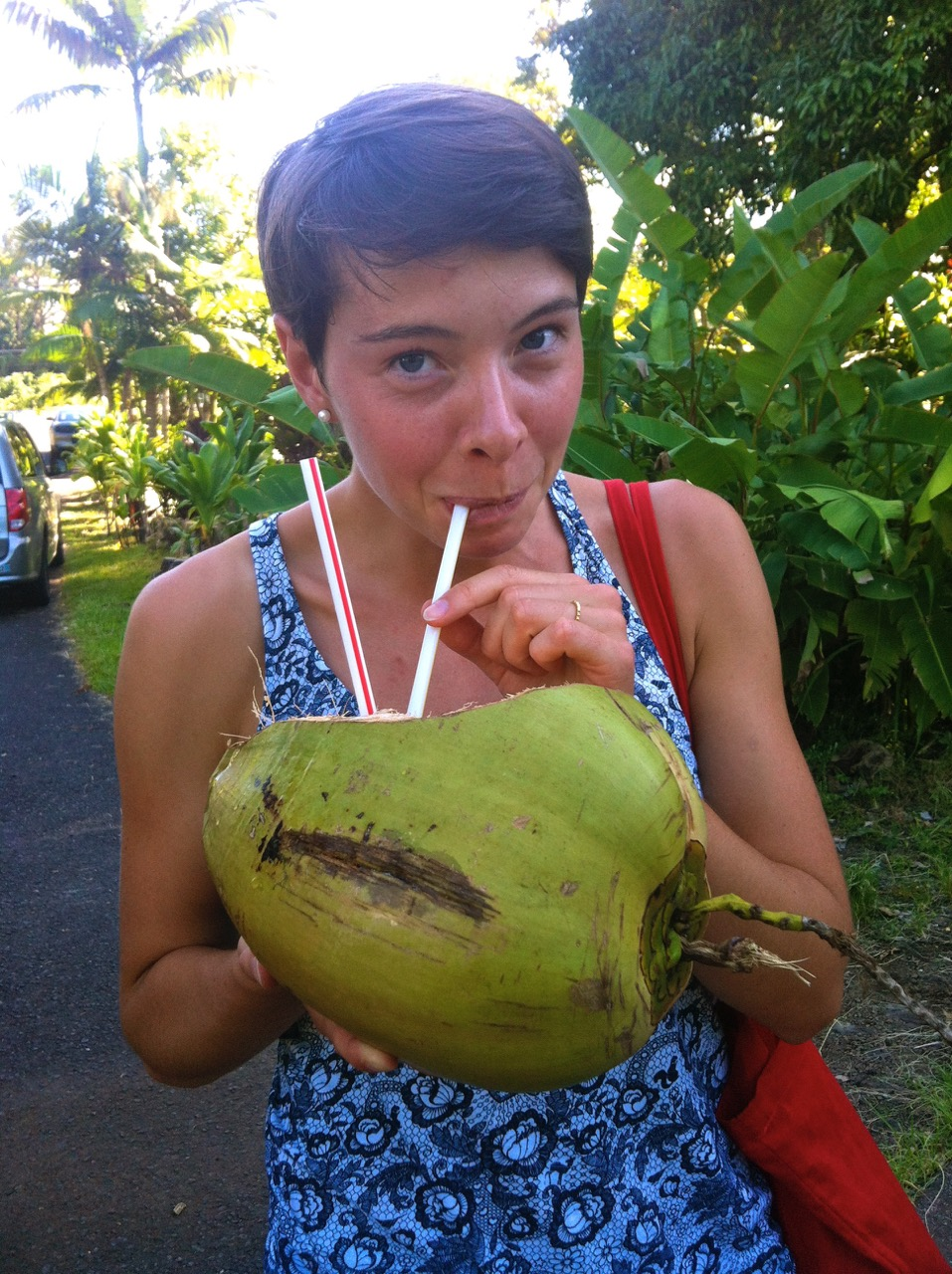 Anna drinking coconut milk through a straw, directly from an unhusked coconut.