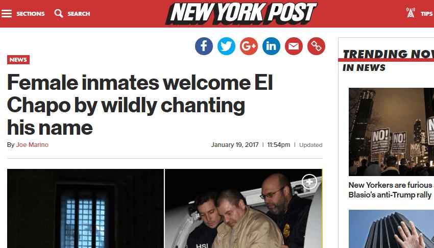 """Reciben a El Chapo como """"rock star"""" en la prisión de Manhattan"""