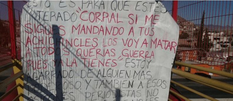 Divulgan narcomanta de amenaza a Corral y periodistas de Chihuahua