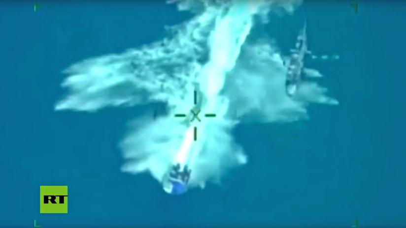 Helicóptero de la Marina persigue lancha con 2 toneladas de cocaína (VIDEO)