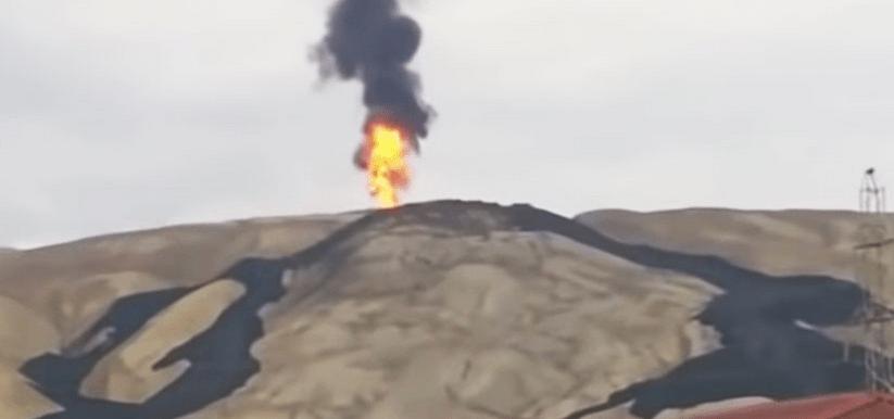 Entra en erupción volcán de lodo en Azerbaiyán (VIDEO)