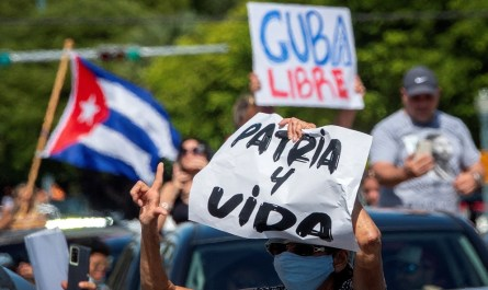 A demonstration in Miami to support the protesters in Cuba
