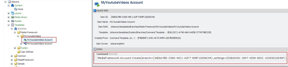A Youtube Connector for Sitecore Media Framework Part 3 – Branch and Command Templates (2/6)