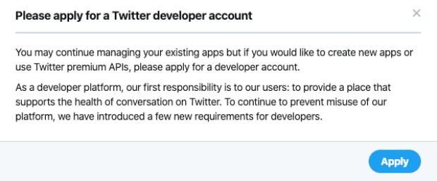 require twitter developer account