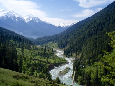 view of river valley in Kashmir