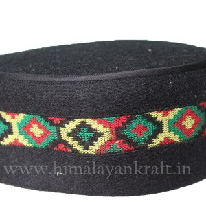 Kullu Cap (Topi)- Be a Pahari – Black with Patti- HimalayanKraft