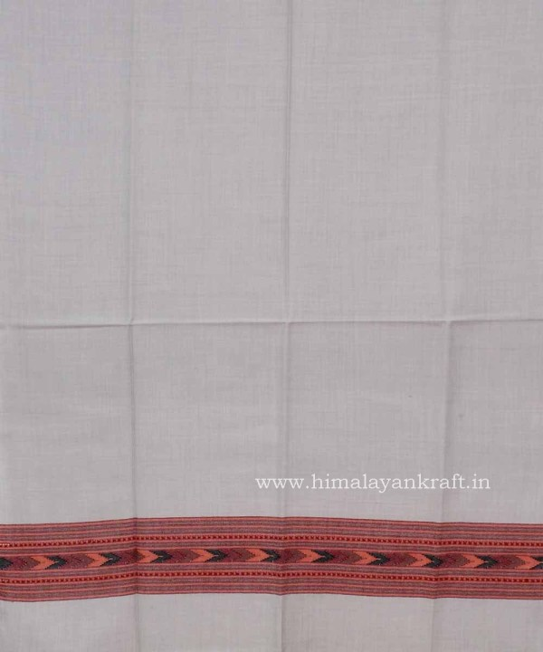 Pure Wool Embroidered White Shawl for Women-www.himalayankraft.in