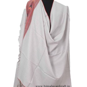 Pure Wool Embroidered Shawl White Color for Women