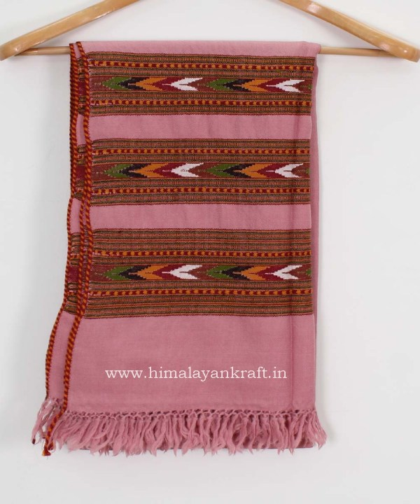 Pure Woolen Pink Shawl Ladies Embroidered from Kullu-www.himalayankraft.in