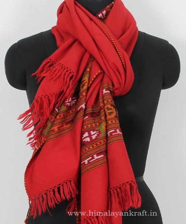 Shoulder Wrap Stole Handwoven Embroidery Light Red-www.himalayankraft.in