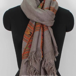 Fashion Handwoven Stole Woolen Floral Embroidery Grey