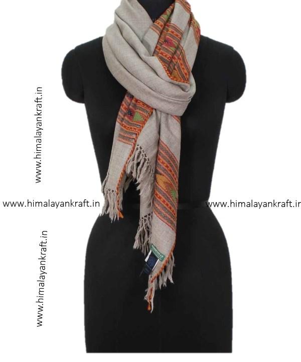 Buy Woolen Stole Online Handwoven Floral Embroidery Kullu Stole - www.himalayankraft.in