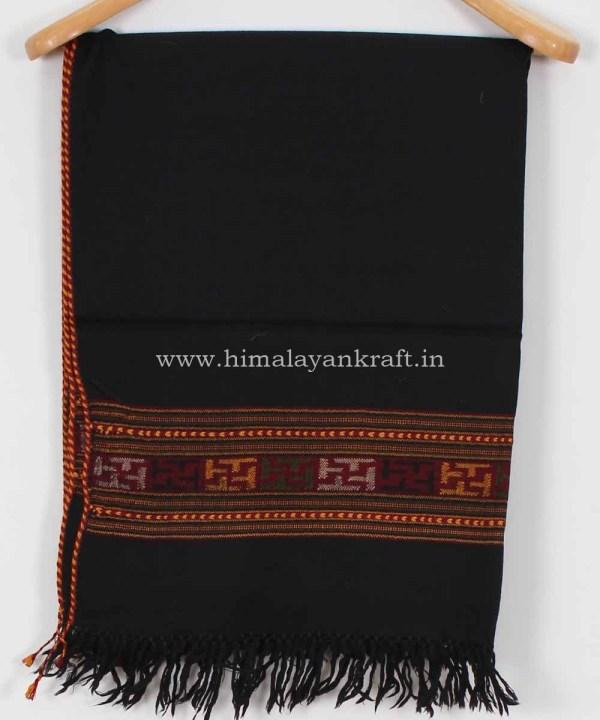 Stole Wrap Duppatta Woolen Handwoven Floral Embroidery Kullu Handloom- www.himalayankraft.in