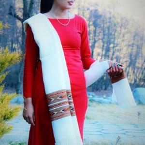 Hand Woven Woolen Shawl Kullu Handloom (White)