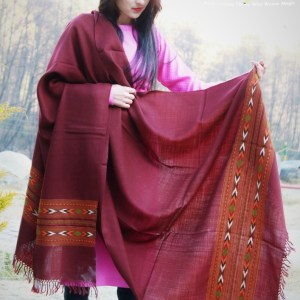 Buy Beautiful HimalayanKraft Brown Kullu Hand Woven Wool Shawl