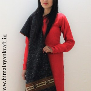 Pure Woolen Stole Purely Handloom Weaved with Traditional Kullu Design