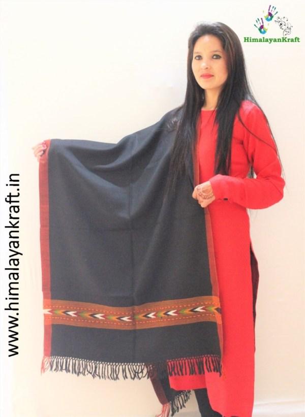 Kullu Designer Pure Wool Stole Woven in Handloom-www.himalayankraft.in
