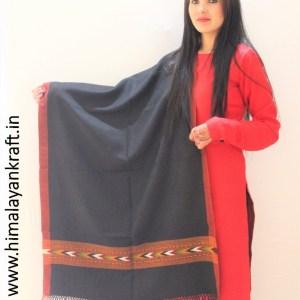 HimalayanKraft's Handloom Ultra-Light Pure Wool Kullu Stole (Black)