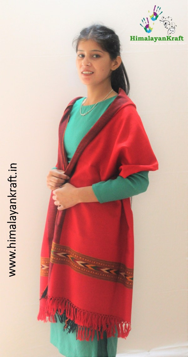 HimalayanKraft's Handloom Ultra-Light Pure Wool Kullu Stole (Red)-www.himalayankraft.in