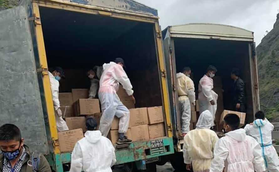 A container of health supplies arrived from China after 21 days