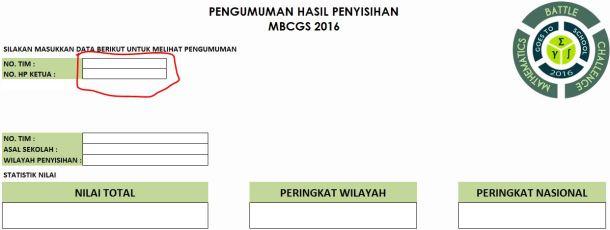 Contoh Pengumuman MBCGS 2016