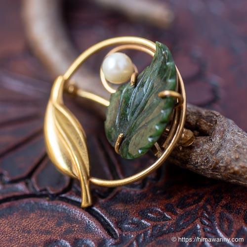 K12金-Curtman-翡翠の葉に月光真珠サークル・ブローチ