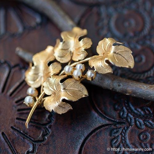 IPS-K12金-真珠の小枝ブローチ