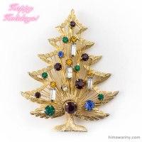 Brooks-アンティークスタイル・キャンドルのクリスマスツリー・ヴィンテージ・ブローチ(メイン画像)