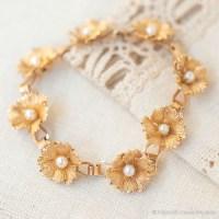 IPS-K12金-真珠の花輪ヴィンテージ・ブレスレット