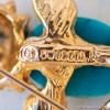 Swoboda スワボダ-天然石青い鳥ヴィンテージ・ブローチ(ロゴ刻印)