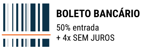 Boleto Bancário - 50% de entrada e mais 4x sem juros