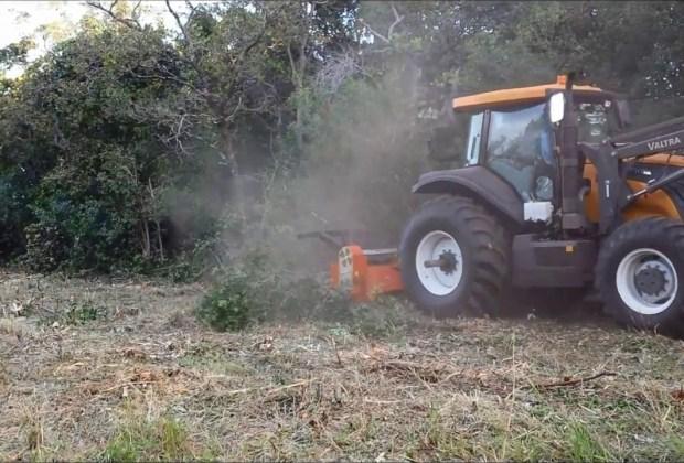 Triturador Florestal Himev Ecotritus HP240 limpando faixas de transmissão no MS
