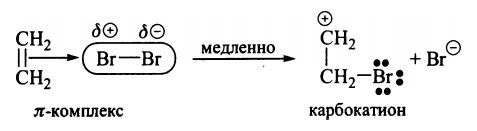 Реакции электрофильного присоединения к алкенам бромирование алкенов карбокатион