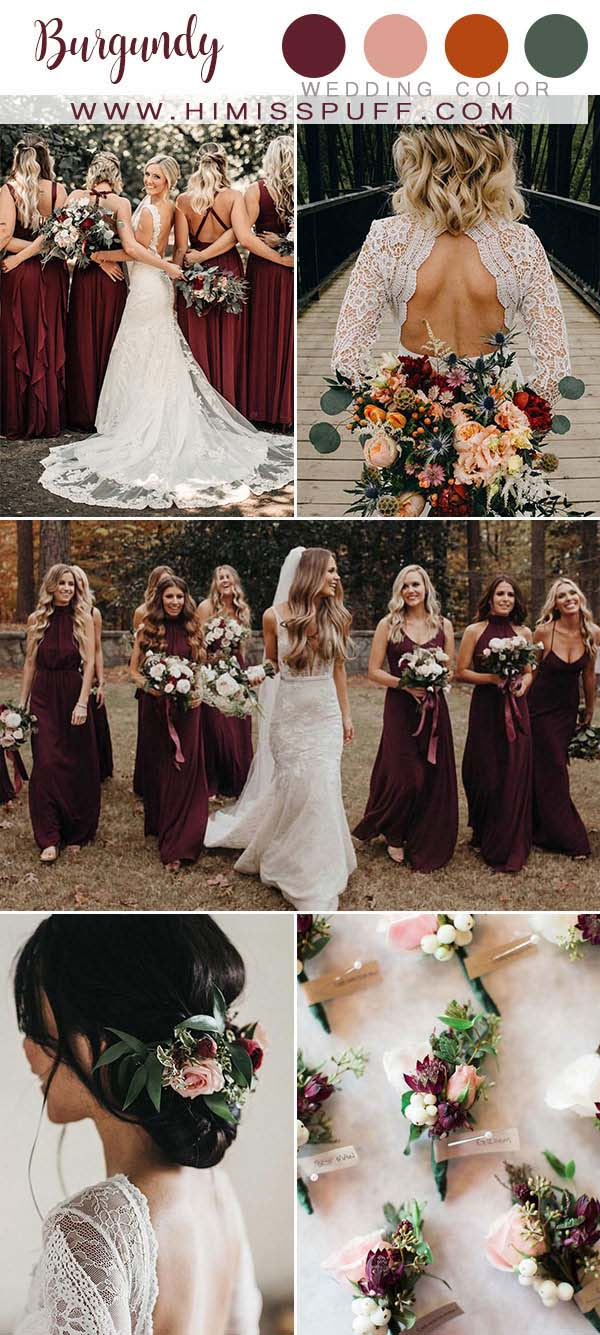 Burgundy wedding color Boutique Burgundy Bridesmaid dresses