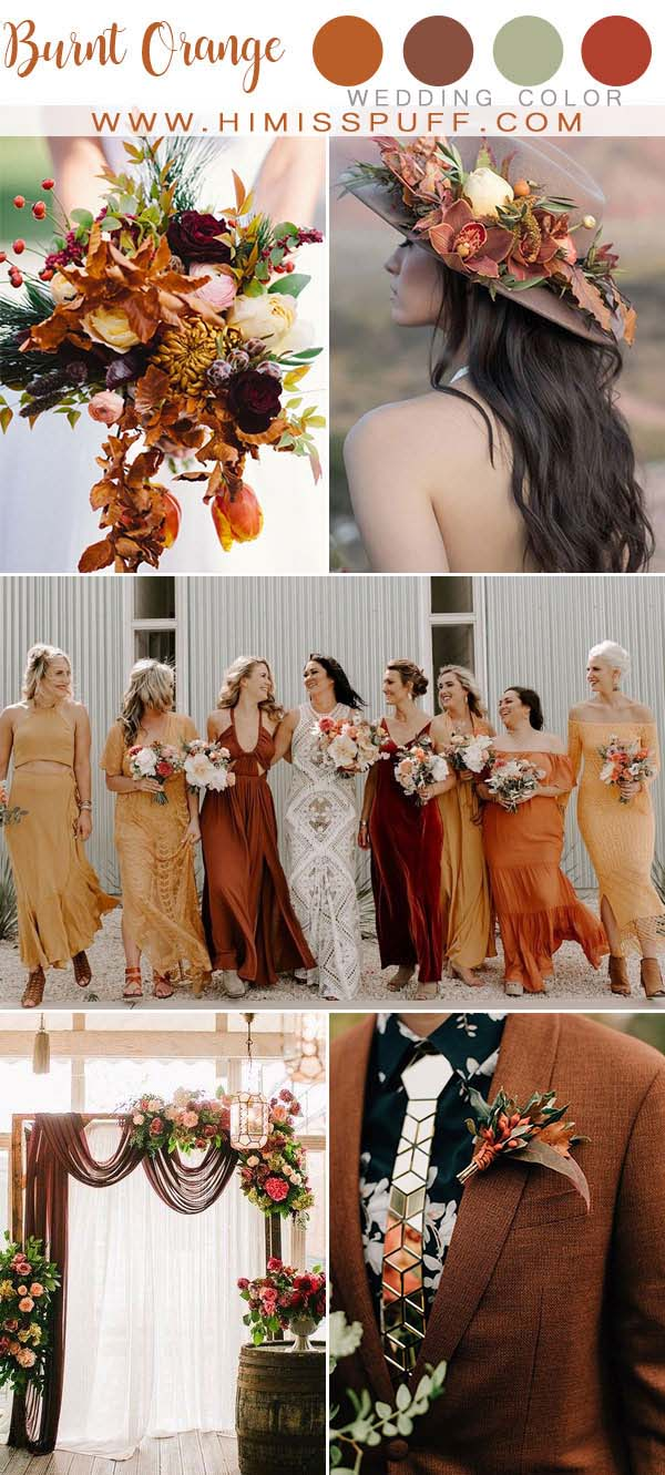 Burnt Orange wedding Color Bridesmaid dresses Bridal Hats