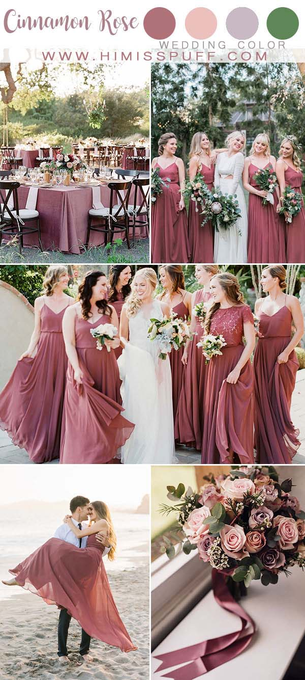 Cinnamon Rose wedding Color 2020 Bridesmaid dresses Wedding Decor Berry Color