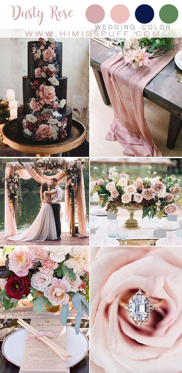 Dusty Rose wedding color 2020 Bridesmaid dresses Black wedding cakes