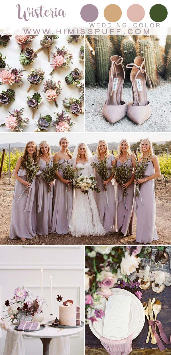 Wisteria Mauve wedding color Bridesmaid dresses Wisteria Wedding Inspiration