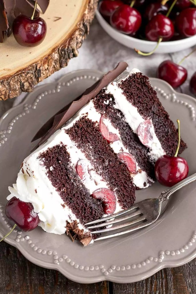chocolate cake with cherry pie filling