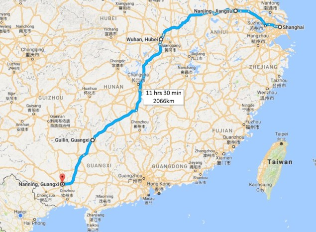 Shanghai to Nanning Map