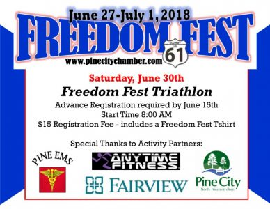 Triathlon poster at Freedom Fest Pine City MN