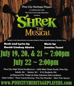 musical theater at Pine City Heritage Center with Shrek the Musical