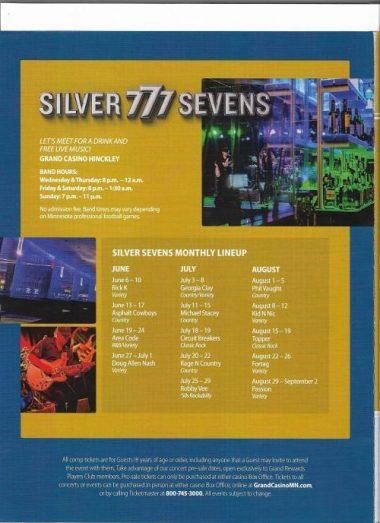 Live music Lineup at Silver Sevens Grand Casino Hinckley