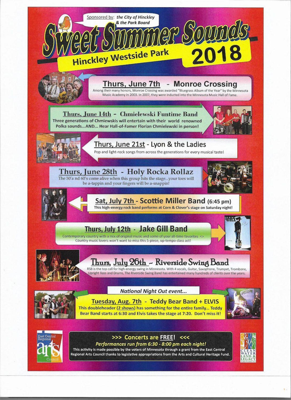 free concerts at the Westside Park Hinckley poster image