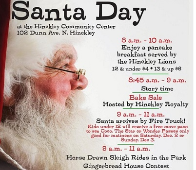 Christmas event in Hinckley MN activities on Santa Day