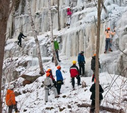 Ice climbing in Sandstone Ice Festival