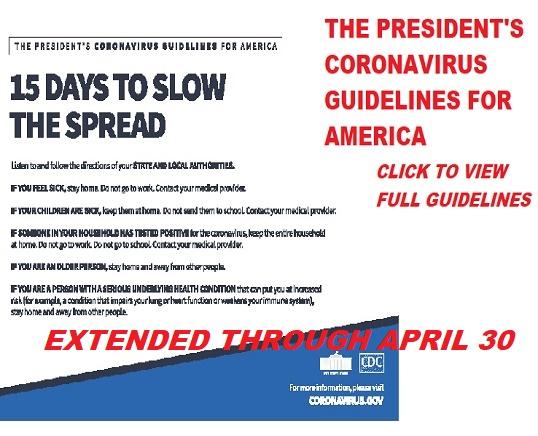Coronavirus Presidents Guidelines extended