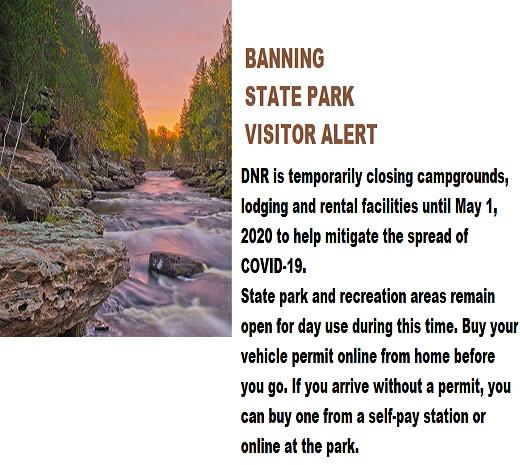 Banning State Park Sandstone MN temp closure
