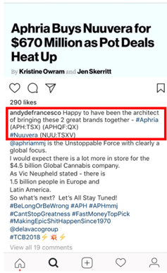 """On DeFrancesco's Instagram page, we noticed that he posted a news release relating to the Aphria/Nuuvera transaction and claimed to be the """"architect of bringing these 2 great brands together"""""""